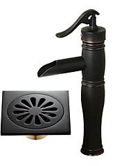 センターセット 滝状吐水タイプ with  セラミックバルブ シングルハンドルつの穴 for  ブラック , バスルームのシンクの蛇口