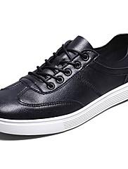 Masculino sapatos Couro Ecológico Primavera Outono Conforto Tênis Cadarço Para Casual Preto Marron Khaki