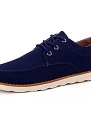 Masculino sapatos Couro Ecológico Primavera Outono Conforto Tênis Cadarço Para Casual Preto Marron Azul