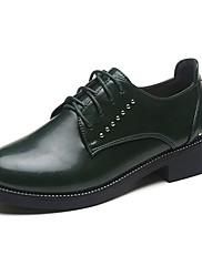 レディース 靴 PUレザー 夏 コンフォートシューズ オックスフォードシューズ ローヒール ラウンドトウ 編み上げ 用途 カジュアル ブラック グリーン