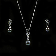 Gorgeous 14K/20 Black 7.5 - 8mm Freshwater Pearl Necklace And Earrings Set