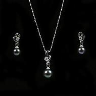 magnifique 14k/20 noir 7,5 - 8 mm d'eau douce collier et boucles d'oreilles perle