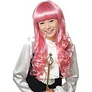 korkiton pitkä synteettinen vaaleanpunainen puku tukka peruukki
