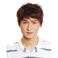 capless kurzen synthetischen braunen Männer glattes Haar Perücke (jf1099)