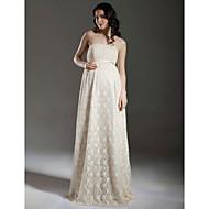 lanting bruid mantel / kolom moederschap trouwjurk-vloer-length strapless kant