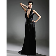 Formal Evening Military Ball Dress - Open Back Celebrity Style Sheath / Column Halter V-neck Sweep / Brush Train Stretch Satin withSide