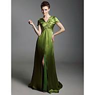 TS Couture Evento Formal Baile Militar Vestido - Elegante Estilo de Celebridad Funda / Columna Cuello en V Larga Charmeuse conRecogido