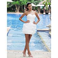 Lanting Bride® Ballkjole Petit / Plus Størrelser Brudekjole - Chic og moderne / Mottakelseskjoler Små Hvite Kjoler Kort / mini Sweetheart