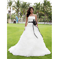 Ball Gown Plus Sizes Wedding Dress - Ivory Chapel Train Strapless Satin/Tulle