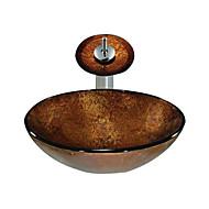 bruine ronde gehard glazen vat zinken met waterval kraan (0888-c-Bly-6142-wf)