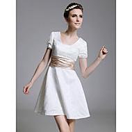 TS Couture® Cocktail Party / Graduation / Holiday Dress - White Plus Sizes / Petite A-line / Princess Square Short/Mini Lace