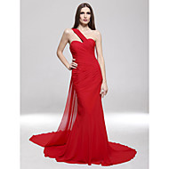 TS Couture Formal Evening Military Ball Dress - Open Back Celebrity Style Trumpet / Mermaid One Shoulder Sweep / Brush Train Chiffon with