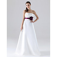Lanting Floor-length Satin Bridesmaid Dress - White Plus Sizes / Petite A-line / Princess Strapless