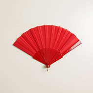 Red Silk Hand Fans (set of 6)