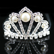 Flower Girl's Alloy / Imitation Pearl Headpiece-Wedding / Special Occasion Tiaras Clear Square Cut