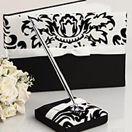 Damask De Sign Wedding Guest Book and Pen Set in Satin With Ribbon Sign In Book