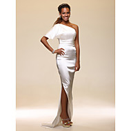 Formal Evening Dress - Plus Size / Petite Sheath/Column One Shoulder Floor-length Stretch Satin