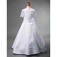 Lanting Bride A-line / Princess Floor-length Flower Girl Dress - Satin Sleeveless Bateau with Beading / Flower(s) / Sash / Ribbon