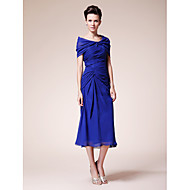 Sheath/Column Plus Sizes / Petite Mother of the Bride Dress - Royal Blue Tea-length Short Sleeve Chiffon