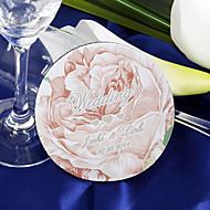 personliga glasunderlägg - rosa ros (sats om 4)