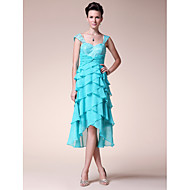 A-line Plus Sizes Mother of the Bride Dress - Pool Tea-length/Asymmetrical Sleeveless Chiffon/Lace