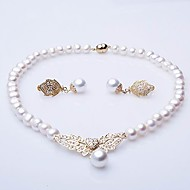 Elegant A Freshwater Pearl With Golden Filigree Necklace & Earrings