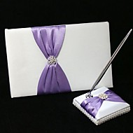 Chic Wedding Guest Book And Pen Set In Satin With Lilac Sash And Rhinestone Sign In Book