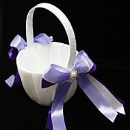 Blumen-Mädchen-Korb mit Doppel-Bändern und Kunstperlen