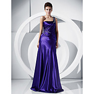 A-line One Shoulder Floor-length Charmeuse Evening/Prom Dress