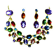 Ladies' Shining Rhinestone  In Gold Alloy Wedding Necklace And Earrings Set