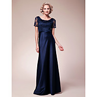 Lanting Bride® Sheath / Column Plus Size / Petite Mother of the Bride Dress Floor-length Short Sleeve Lace / Satin with Beading / Lace