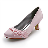 Women's Spring Summer Fall Winter Wedding Spool Heel Bowknot Ruffles Pink Ivory Gold