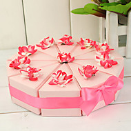 Tortenheber-Box mit rosa und weißen Blüten (10 Stück)