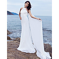 Lanting Bride Sheath/Column Petite / Plus Sizes Wedding Dress-Sweep/Brush Train Halter Chiffon