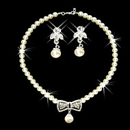 Shining Rhinestone Bow Necklace And Earring Set