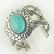 Turquoise And Silver Alloy Oval Cuff Bracelet