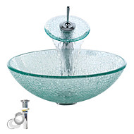 Transparent Tempered Glass Vessel Sink With Waterfall Faucet ,Pop - Up drain and Mounting Ring