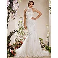Lanting Bride Trumpet/Mermaid Petite / Plus Sizes Wedding Dress-Court Train High Neck Satin / Tulle