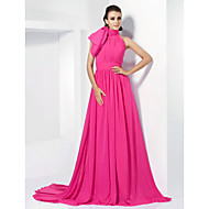 TS Couture Formal Evening Dress - Celebrity Style Elegant A-line Princess High Neck Court Train Chiffon withBow(s) Sash / Ribbon Side