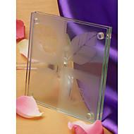 """Verliefd"" frosted blad ontwerp glas onderzetters (set van 2)"