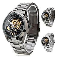 SHENHUA Heren Polshorloge mechanische horloges Automatisch opwindmechanisme Hol Gegraveerd Roestvrij staal Band Luxueus Zwart Zilver