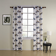 TWOPAGES® Two Panels  Print Motorcycle Kids Energy Saving Curtains Drapes