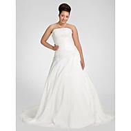 Lanting A-line Plus Sizes Wedding Dress - White Chapel Train Strapless Taffeta