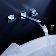 Moderne Vægmonteret Vandfald with  Keramik Ventil To Håndtag tre huller for  Krom , Håndvasken vandhane