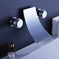 Contemporary Wall Mounted Waterfall with  Ceramic Valve Three Holes Two Handles Three Holes for  Chrome , Bathtub Faucet