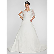 A-line Petite / Plus Sizes Wedding Dress - Ivory Chapel Train V-neck Taffeta