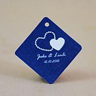 tag favor personalizado losango - corações azuis (conjunto de 30)