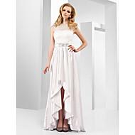 TS Couture Evento Formal Vestido - Assimétrico Elegante Estilo Celebridade Linha A Princesa Decorado com Bijuteria Longo Assimétrico