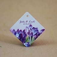 tag favor personalizado losango - flores roxas (conjunto de 30)