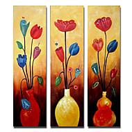 Handgemalte Blumenmuster/Botanisch Drei Paneele Leinwand Hang-Ölgemälde For Haus Dekoration